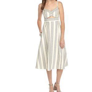 BCBGMAXAZRIA Karoline Woven Striped Cutout Dress